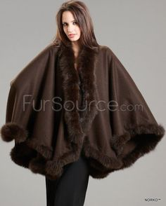 Cashmere Cape with Fox Fur Trim - Brown