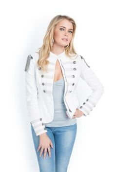White Denim Marching Jacket, GUESS.