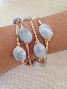 Aquamarine Wire Wrapped Bangle Bracelet by SunandStoneJewelry