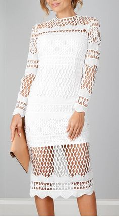 A sheer bodycon dress featuring hollow out lace trim, round neckline, long sleeve, and a zipper back. Never hesitate to show off your figure and fashion.