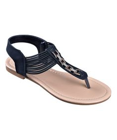 Look at this #zulilyfind! Black Rhinestone Chain Sandal #zulilyfinds