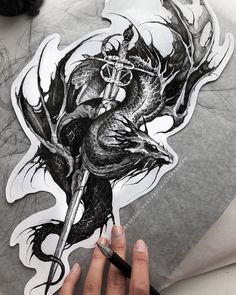 Blackwork, Dragon Sketch, Tattoo Sketches, Character Concept, Tatoos, Tattoo Designs, Diamond Tattoos, Ink, Photo And Video
