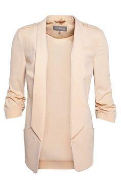 Shawl Collar Ruched 3/4 Sleeve Epaulettes Jacket - Marks & Spencer