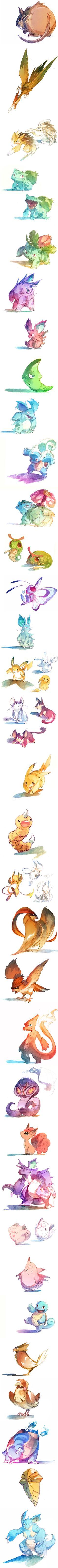 Watercolor Pokemon #nintendo