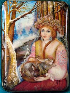 Snow Maiden With Rabbits Russian Hand Painted Fedoskino Lacquer Box