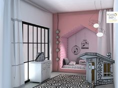 We have chosen white and black accessories and furniture and a bright color to give personality to the space! Kids Room, Personality, Toddler Bed, Rooms, Bright, Space, Projects, Accessories, Furniture