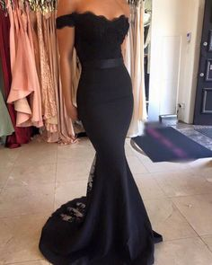 Off-shoulder Lace Bodice And Satin Skirt Mermaid Evening Dress Prom Gown With Sheer Lace Train on Luulla