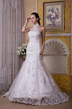 Trumpet/Mermaid High Collar Lace Stretch Satin Sweep/Brush Train Wedding Dress