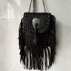 2016 women black tassel bag leather bags for women