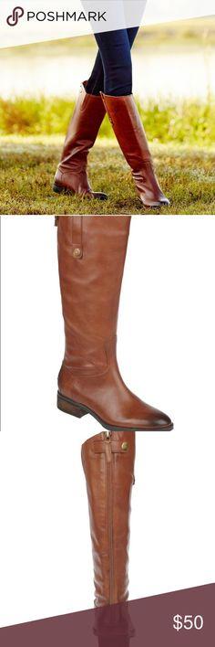 Soda Women Buckled Flat Boots Riding Knee High Elastic Calf Cognac Brown ENCINA