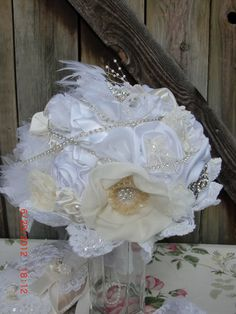 BEJEWELED Bridal Bouquet in White and Ivory by AliceSiouxBridal, $300.00