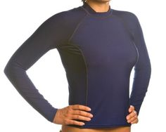 Women's SPF 50+ Navy Long Sleeve Rash Guard - Medium Made in the USA with Pride!.  #TheBeachDepot #Sports