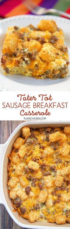 Tater Tot Sausage Breakfast Casserole - great make ahead recipe! Sausage, cheddar cheese, tater tots, eggs, milk, garlic, onion and black pepper. Can refrigerate or freeze for later. Great for breakfast. lunch or dinner. Everyone loves this easy breakfast casserole!!