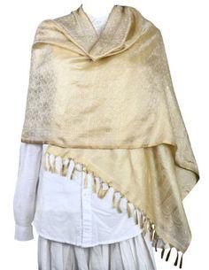 Long Scarf Women Silk Beige Fashion Accessory Paisley Costume Indian ShalinIndia, http://www.amazon.co.uk/dp/B00ELCALKM/ref=cm_sw_r_pi_dp_b8Rksb1JJVMB0