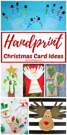 Christmas Handprint art and crafts for xmas cards! Make some keepsake Christmas cards that your family will treasure with these handmade Christmas card craft and gift ideas. Homemade holiday cards are perfect for parents and grandparents! |#ChristmasCard #DIYChristmasCard #ChristmasCraft