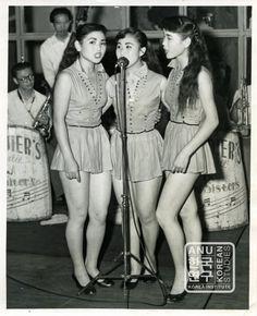 Kim Sisters performing in Korea in mid