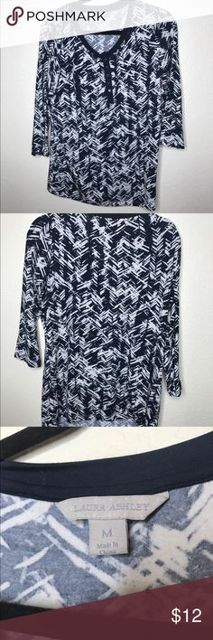 Women's blouse This navy blue and white blouse is very comfortable! Has buttons and 3/4 sleeves Laura Ashley Tops Blouses