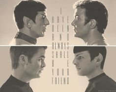 The best of friends, like brothers(even if one is human and the other half Vulcan/half human). I like both of these, but I was exposed to TOS first(at a young age).