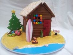 A gingerbread house with an Aussie touch. Bring on the hot Australian summer!