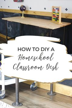 How to diy homeschool study areas for your classroom this school year. This classroom desk turned out perfectly and fits right in the little section of our downstairs room. #classroom #desk