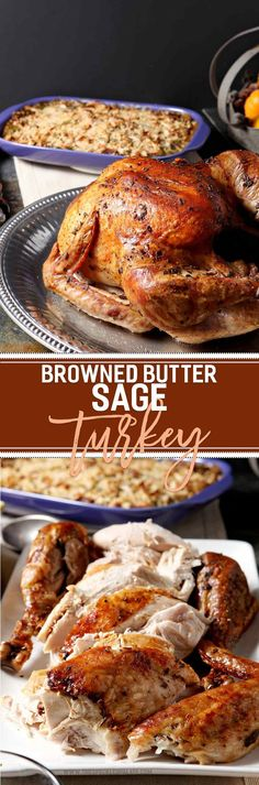 Prepare a showstopping entree for the holidays this year! Browned Butter Sage Turkey is a decadent twist on the classic roasted turkey. Brown butter in a pan with fresh sage, then slather a Honeysuckl (Autumn Bake Thanksgiving) Thanksgiving Sides, Thanksgiving Recipes, Fall Recipes, Holiday Recipes, Dinner Recipes, Holiday Foods, Thanksgiving Prayer, Thanksgiving 2017, Thanksgiving Appetizers