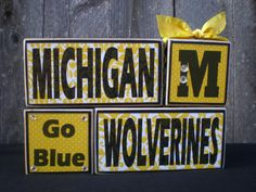 Wooden Blocks  University of Michigan  by Memoriesoffaith on Etsy, $23.00