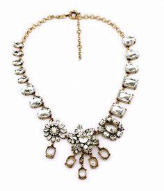 NEW Glass Crystal Teardrop Pendant Statement Necklace Bib Gold Tone Chain US #JewelStorie #StatementPendant