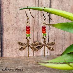 Dragonfly Dangle Earrings, Bohemian Earrings, Summer Earrings, Red Orange Green Earrings, Antique Brass Earrings, Boho Earrings, Handmade by RavenGwenDesigns on Etsy