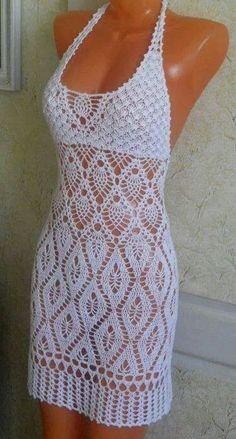 Crochet dress. Bikini coverup