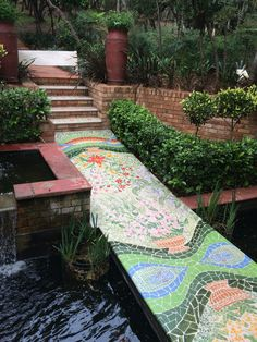 Hand painted path across a new Koi pond Randburg Johannesburg Garden Mural, House Art, Koi, Stepping Stones, Paths, Hand Painted, Outdoor Decor, Home Decor, Mosaics