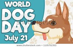 Commemorative banner with happy dog over a background with bone and paw pattern for World Dog Day celebration in July Happy Dogs, Dog Days, Celebration, Royalty Free Stock Photos, Banner, Illustration, Pattern, Pictures, Dogs