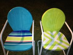 Painted metal lawn chairs