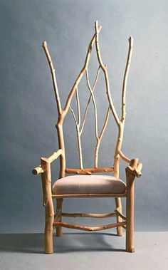 """I obviously need this chair. Source: Daniel Mack Rustic furnishings (peeled maple branch chair in Gothic Revival style) TLC Home """"Cabin Decor Idea: All Aglow"""" Twig Furniture, Furniture Design, Wood Chair Design, Furniture Ideas, Branch Decor, Ideias Diy, Deco Design, Take A Seat, Wood Art"""