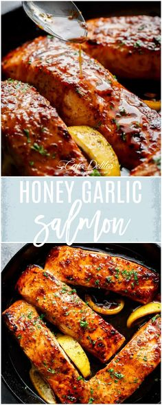 Easy Honey Garlic Salmon is a throwtogether recipe in one pan and a perfect sweet and savoury 5-ingredient garlicky saucewith ahint of lemon!