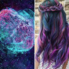 宇宙レベルのインパクト。斬新すぎる銀河ヘアカラー。 宇宙や空の神秘的な現象の美しさをそのままヘアに閉じ込めたかのようなカラーリング。 カラフルなカラーリングは個人的にはあ...