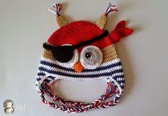 Gorrito Búho Pirata a crochet