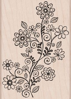 """Wood Stamps - Hero Arts Mounted Rubber Stamps 4""""X4"""" - Flower Swirl Vine"""