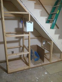 Storage under basement stairs Understairs Storage basement stairs storage Under Basement Stairs, Space Under Stairs, Under Stairs Cupboard, Staircase Storage, Basement Storage, Storage Under Stairs, Diy Understairs Storage, Basement Renovations, Home Remodeling