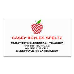40 best business cards for teachers tutors educators free business card on zazzle redwhite chevron printed on back flashek Choice Image