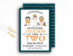 Wild Things Party Invitation  Orange and Green  by FestivityInk