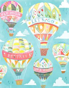 Up and Away Art Print Hot Air Balloons Katie by thewheatfield