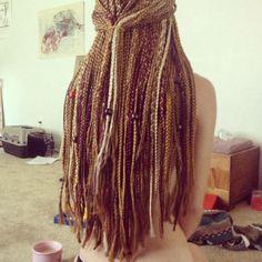 Multi color box braids. White blonde honey brown hair is cute too.