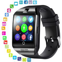 7c48ffd863e LEMFO Bluetooth Smart Watch Men Q18 With Touch Screen Big Battery Support  TF Sim Card Camera for Android Phone Passometer. Relógio InteligenteAcompanhamento  ...