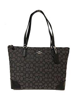 a6a86dfbfff4  102 - Coach Signature Zip Tote Shoulder Handbag Made of PVC and Leather  Zip Top Closure