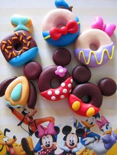 Disney doughnuts. It would take a while to figure out if I should eat them or not. There way too cute to eat, but they make my stomach rumble!