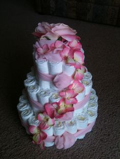 3 Tier Pink Diaper Cake for Baby Girl-Round-93 Diapers.