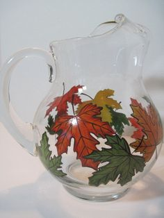 Falling Leaves Painted Glass Pitcher
