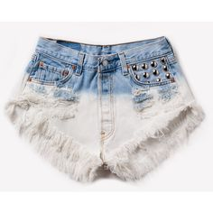 Kirsten Vintage Dyed Studded Shorts ❤ liked on Polyvore