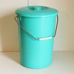 Vintage aqua diaper pail.
