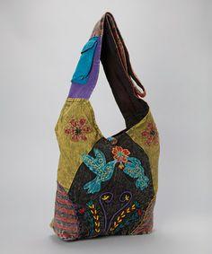 Look at this #zulilyfind! Green & Red Bird Embroidered Crossbody Bag by Rising International #zulilyfinds